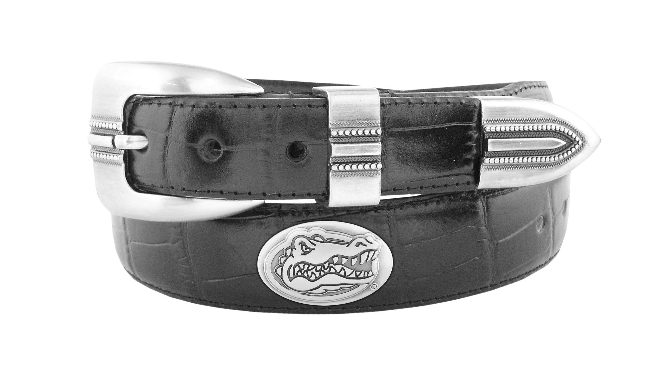 NCAA Florida Gators Black Crocodile Tip Leather Concho Belt, 34