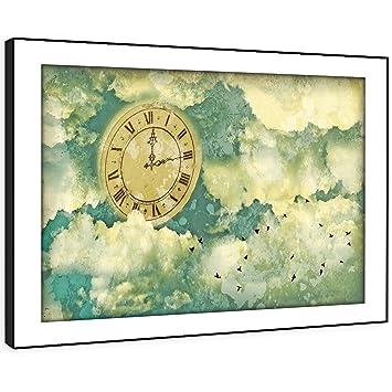 Schlafzimmer Vintage Modern | Bfab1151e Framed Print Wandkunst Blaue Uhr Wolke Vintage Modern