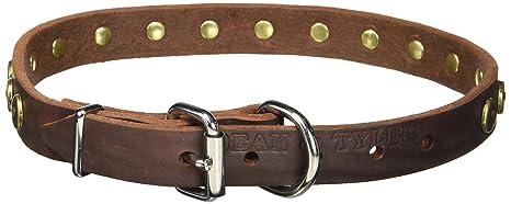 """Leash Medium Large Black w// Brass Dean /& Tyler 24"""" Premium Leather Dog Collar"""
