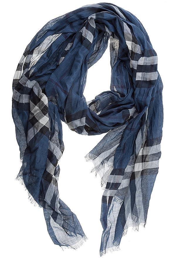 7db70f162b10 Burberry écharpe femme en laine mu gauze blu  Amazon.fr  Vêtements et  accessoires