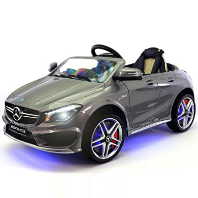 2020 Mercedes Benz CLA 12V Ride On Motorized Cars Powered Wheels W/ Remote, Dining Table, Leather Seat, LED Light- Silver: Toys & Games