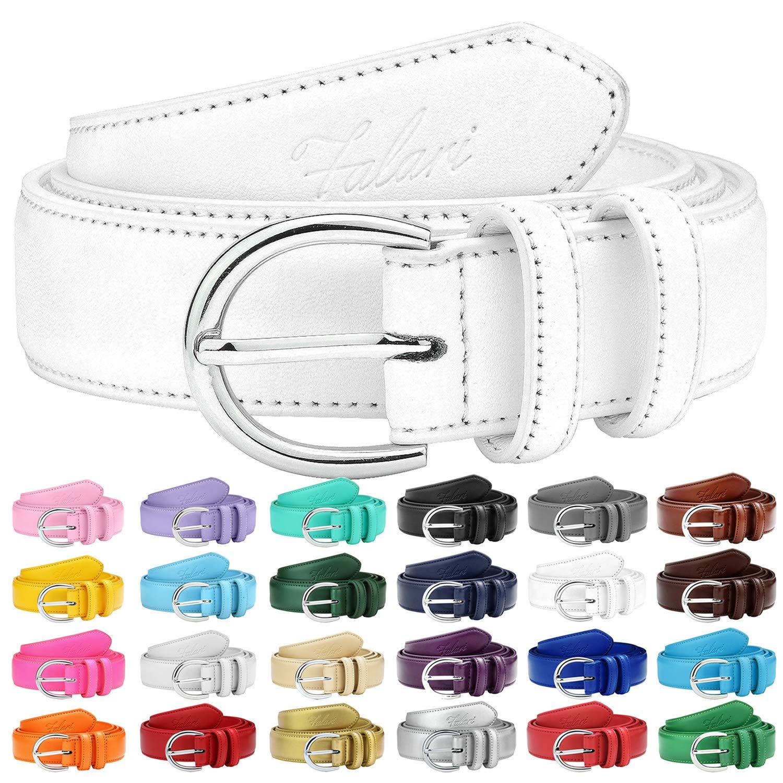 Falari Women Genuine Leather Belt Fashion Dress Belt With Single Prong Buckle 6028-White-S