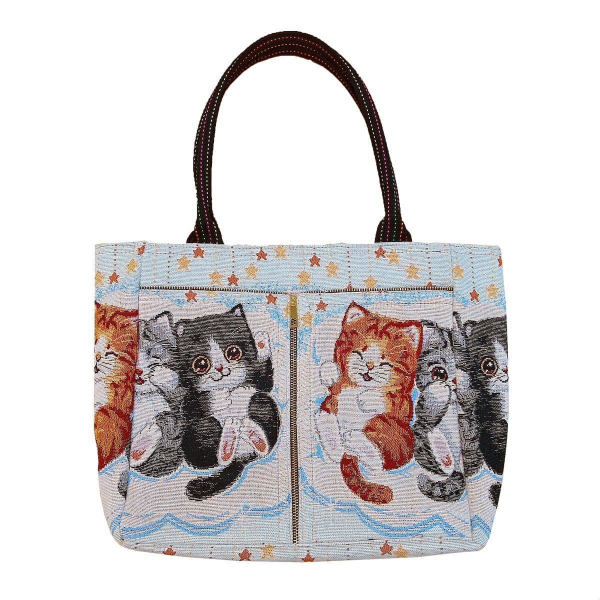 【 可愛すぎる猫ちゃん 】 ゴブラン織り ビッグ トートバッグ W-TT-CATBAG B07CPSXXPT