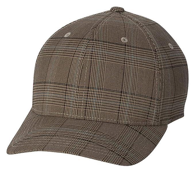 078785b8b16 Flexfit Original Glen Check Plaid Hat Baseball Blank Cap Fitted Flex Fit  6196 Small Medium - Brown Khaki at Amazon Men s Clothing store  Novelty  Baseball ...
