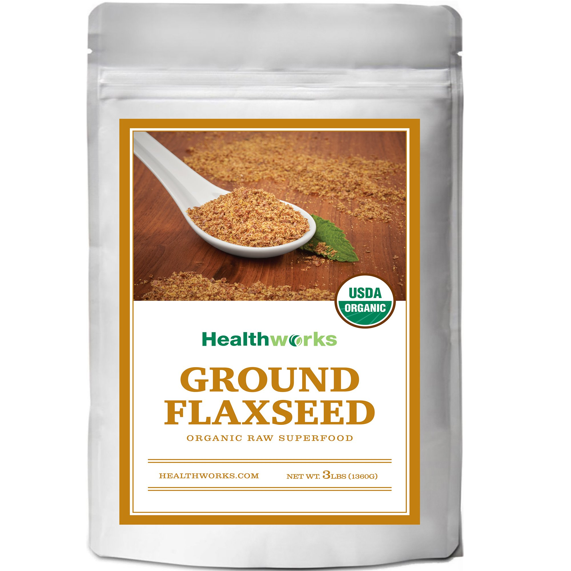 Healthworks Flaxseed Powder Cold-Milled Ground Organic, 3lb