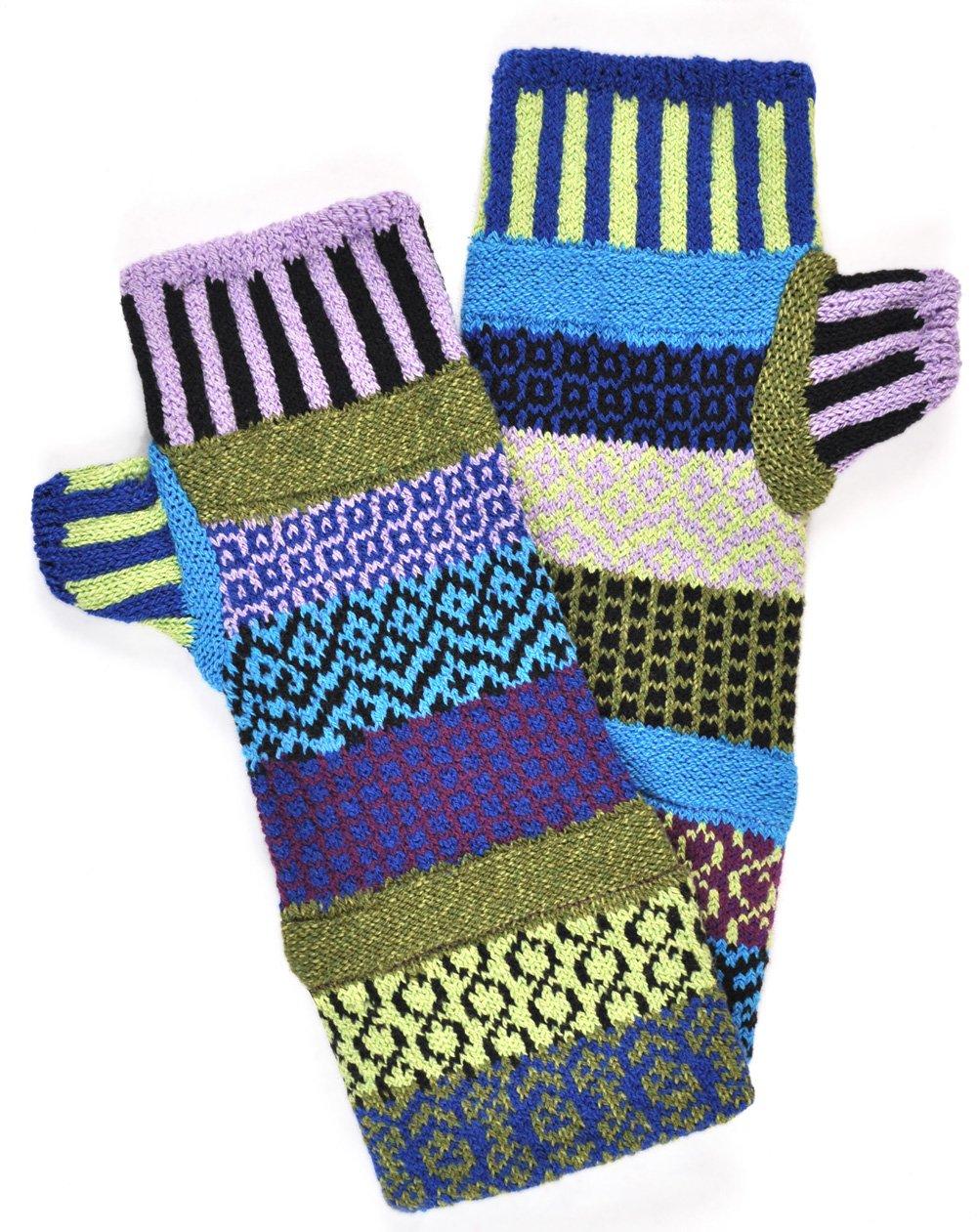 Solmate Socks Poinsettia Mismatched Fingerless Gloves for Men or Women