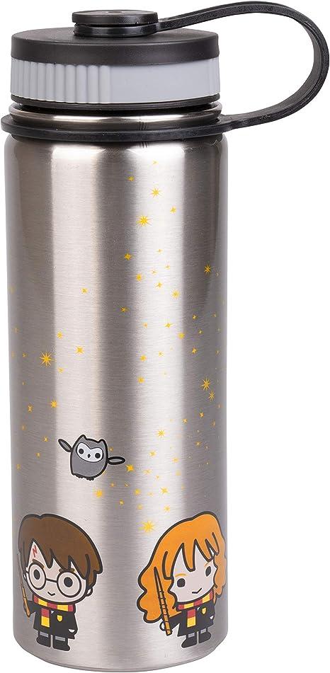 Harry Potter - Botella de agua de acero inoxidable con diseño de Harry, Ron y Hermione Chibi, 550 ml