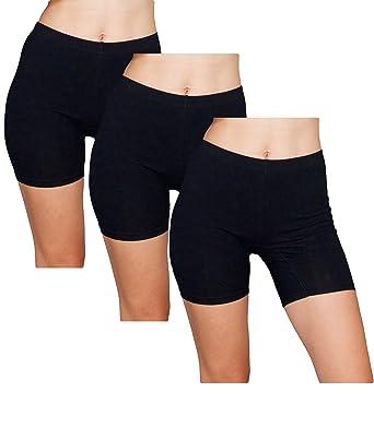b9f972f384 Emprella Slip Shorts 3-Pack Black Bike Shorts Cotton Spandex Stretch  Boyshorts For Yoga,