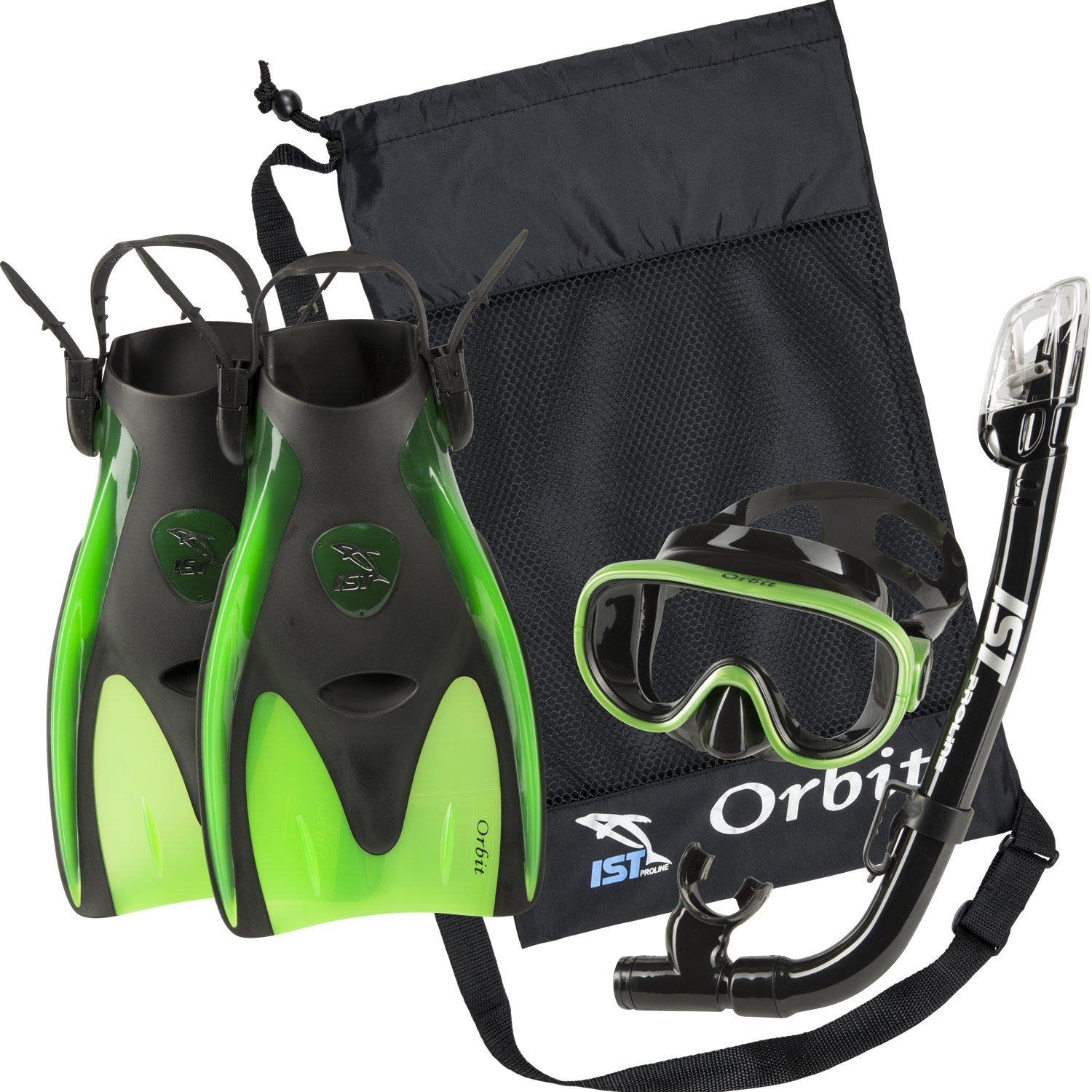 IST Orbit Snorkeling Gear Set: Tempered Glass Mask, Dry Top Snorkel & Trek Fins for Compact Travel (Black Silicone/Green, Small)