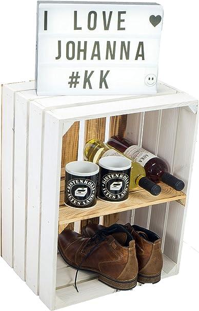 Estantería maciza para zapatos o libros, forma de caja de frutas o vino, tamaño aprox. 50 x 40 x 31 cm, de madera antigua, decorativa