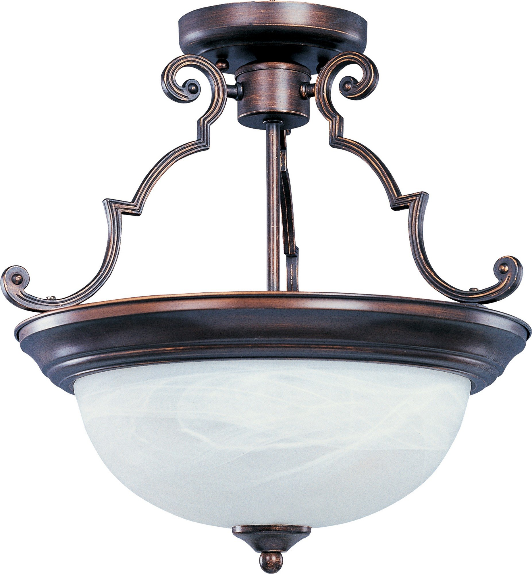 Maxim 5843MROI Essentials 2-Light Semi-Flush Mount, Oil Rubbed Bronze Finish, Marble Glass, MB Incandescent Incandescent Bulb , 60W Max., Dry Safety Rating, Standard Dimmable, Linen Fabric Shade Material, Rated Lumens
