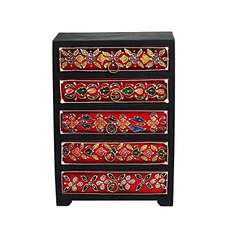 Store Indya, Wooden Chest Of 5 Drawers Multipurpose Mini Armoire Jewelry  Trinket Girls Accessories Stationary