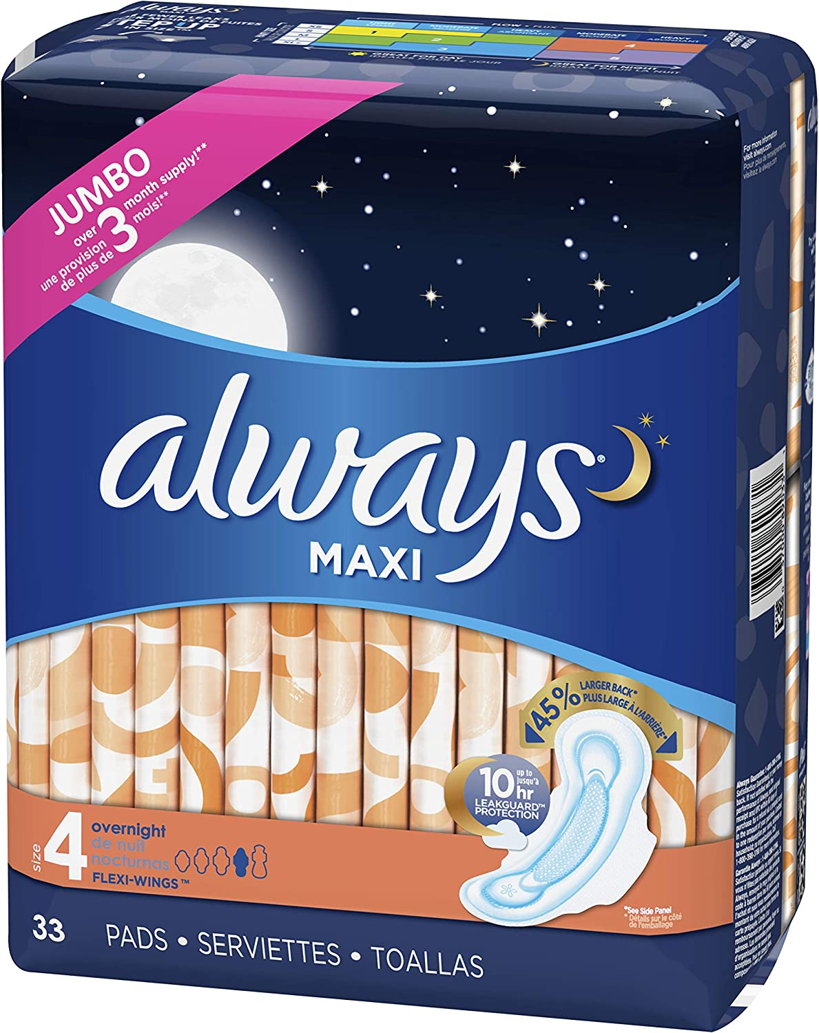 ALWAYS Maxi Size 4 Overnight Pads with Wings Unscented, 33 Count: Health & Personal Care