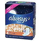 Always Maxi Size 4 Overnight Pads with Wings, Unscented, 33 Count