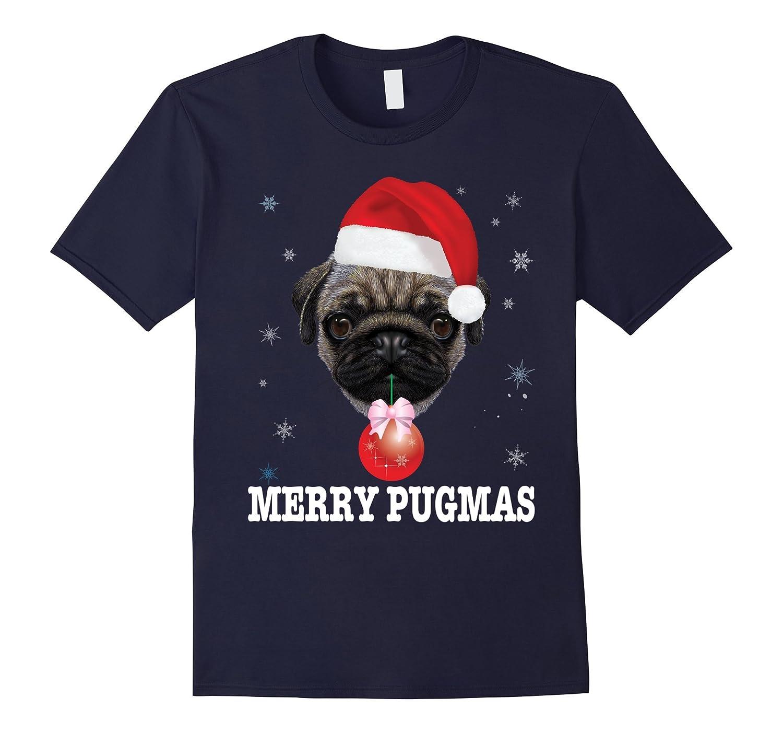 3e1325b9 Merry Pugmas Cute Pug Dog Christmas T-Shirt Funny Xmas Tee-Art ...