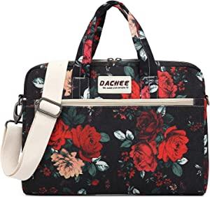 DACHEE Big Red Rose Pattern 15 inch Waterproof Laptop Shoulder Messenger Bag for 14 Inch to15.6 inch Laptop and MacBook Pro 15 Laptop Case