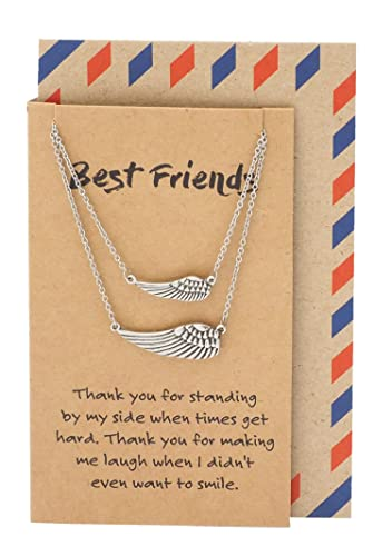 Amazon Com Quan Jewelry Angel Wings Necklace Sisters Gifts Best