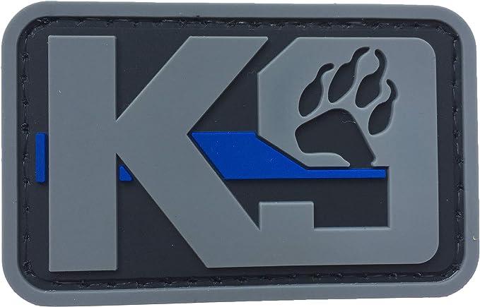 Parche K9 para huellas de perro, de PVC, de goma, táctico, de policía, para hacer cumplir la ley – Canine delgado azul línea parche Fastner con gancho de apoyo por uuKen Tactical