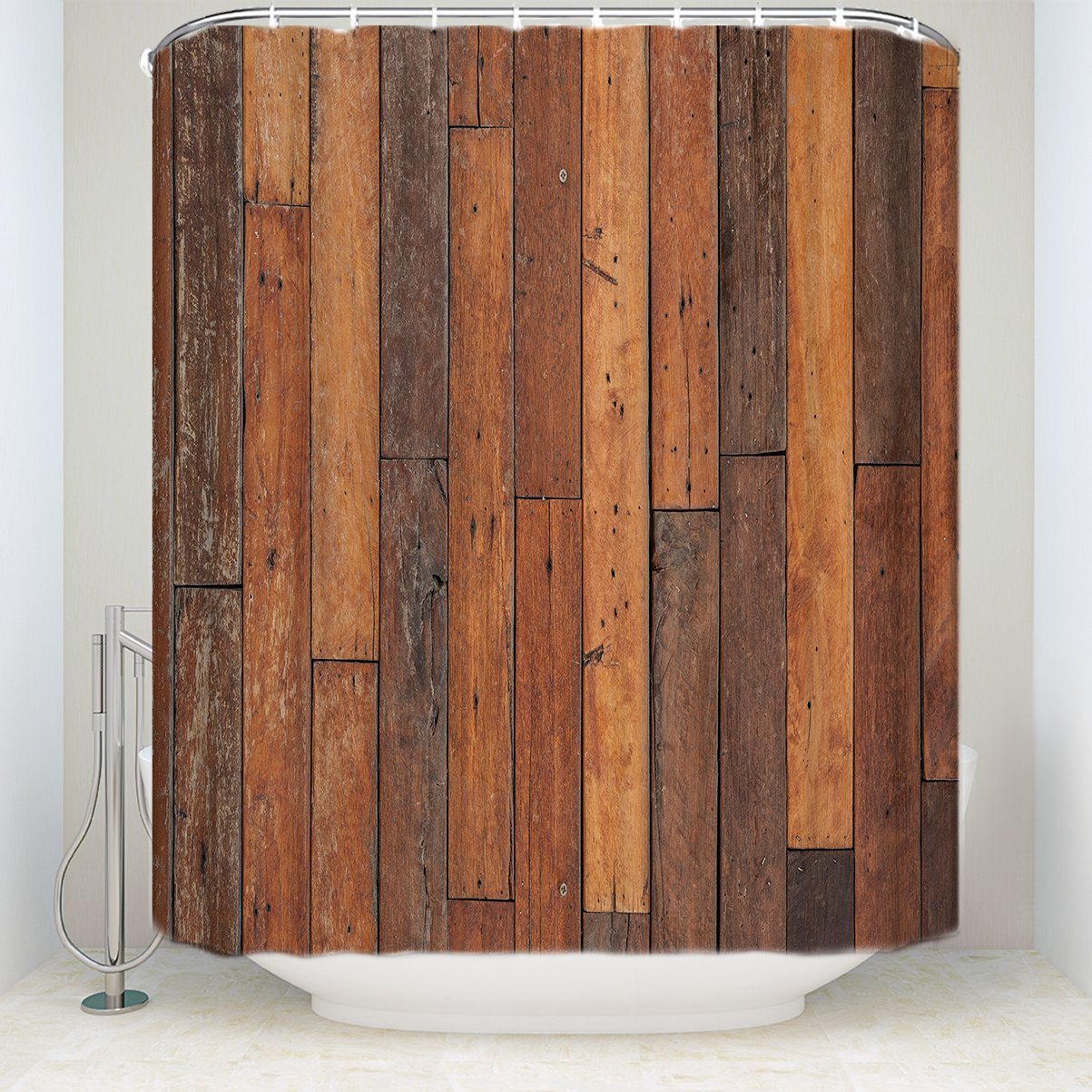 Antique Theme Shower Curtains Rustic Country Barn Wood Bath Shower Curtain Waterproof Polyester Fabric Bathroom Accessories Sets with Hooks 72x84Inches