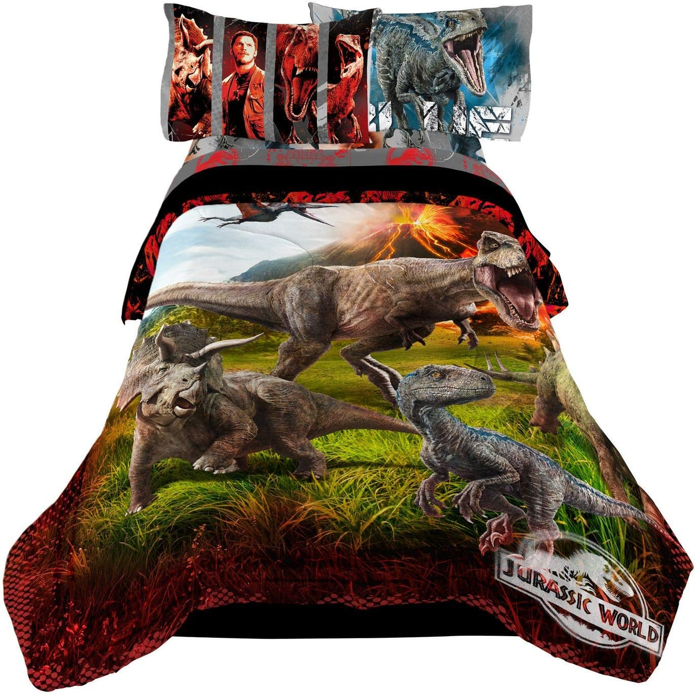 "Jurassic World Kids Bedding Sheet Full Sheet Set with Full Comforter 5 Piece -72"" x 85"""