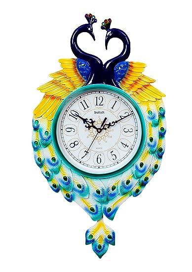 Buy Dollar Pendulum Wall Clock Couple Peacock Look Turquoise