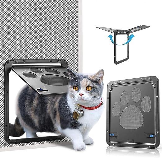 Ownpets Puerta para Perros y Gatos Puerta Mosquitera para Mascotas Gatera de Gatos con Cerradura Automática Puerta Magnética con Malla para Perros Pequeños: Amazon.es: Productos para mascotas