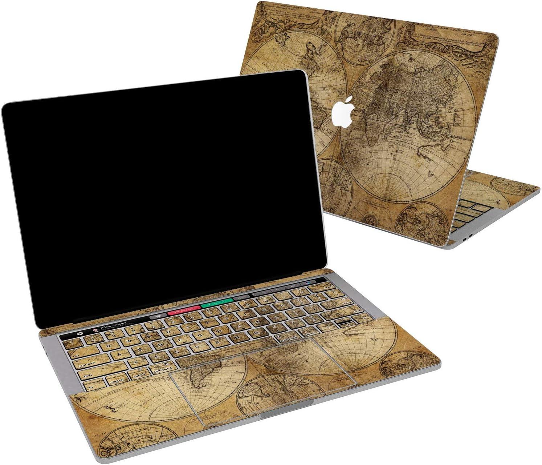 Lex Altern Vinyl Skin for MacBook Air 13 inch Mac Pro 16 15 Retina 12 11 2020 2019 2018 2017 World Map Vintage Antique Earth Luxury Brown Boho Touch Bar Laptop Cover Keyboard Decal Sticker Wrap