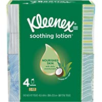 Kleenex Soothing Lotion Facial Tissues, 4 Cube Boxes, 65 Tissues Per Box (260 Tissues Total), with Coconut Oil, Aloe…