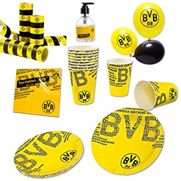 Rkr Dortmund bvb borussia dortmund set of 54 pieces paper cups plates