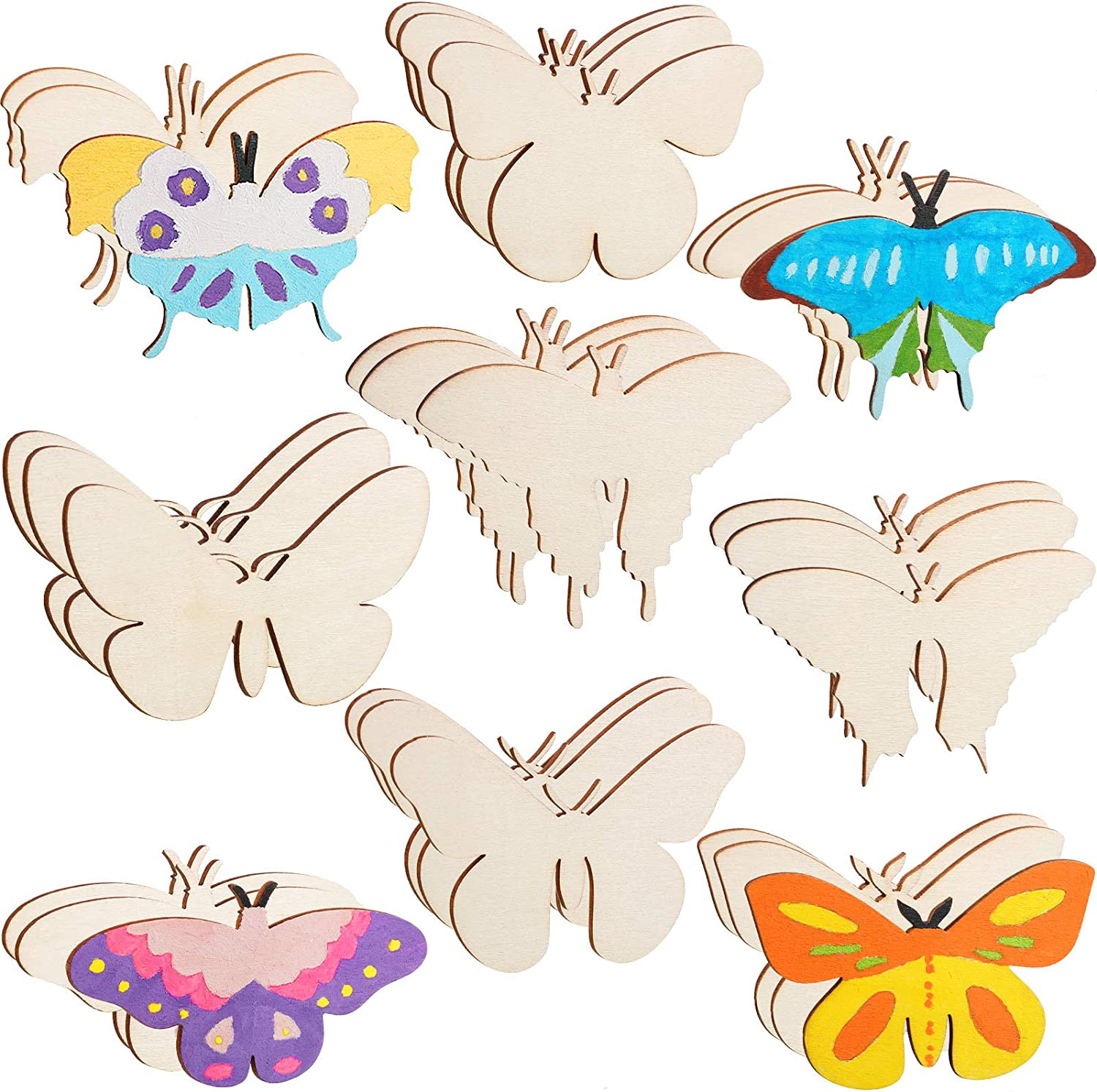 27 Pieces Wood Butterfly Crafts Butterfly Unfinished Wood Cutouts Blank Butterfly Wooden Paint Crafts for Kids Home Decoration Craft Project, 9 Styles
