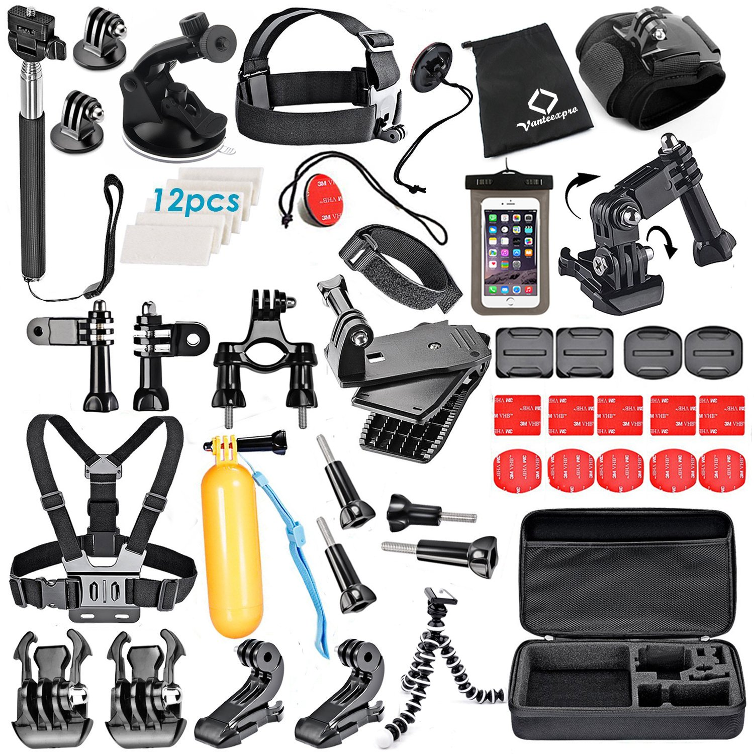 VanteexPro 56-in-1 Accessories Kit for Gopro Hero 5 4 3+ 3 2 1 Session Black Silver Sport Camera Accessories Bundle