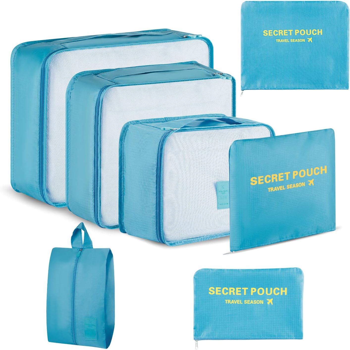 Newdora 7 en 1 Set de Organizador de Equipaje Viaje con Bolsa de Zapato,Impermeable Organizador de Maleta Bolsa para Ropa Sucia de Viaje, Portatrajes de Viaje, Material Nylon, Azul