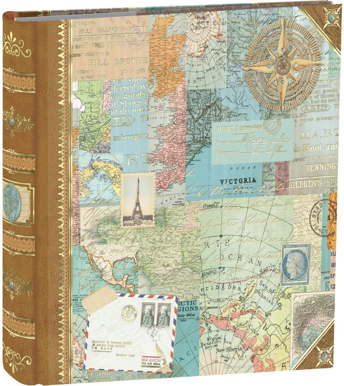 An image of a photo album with World Map as cover design.