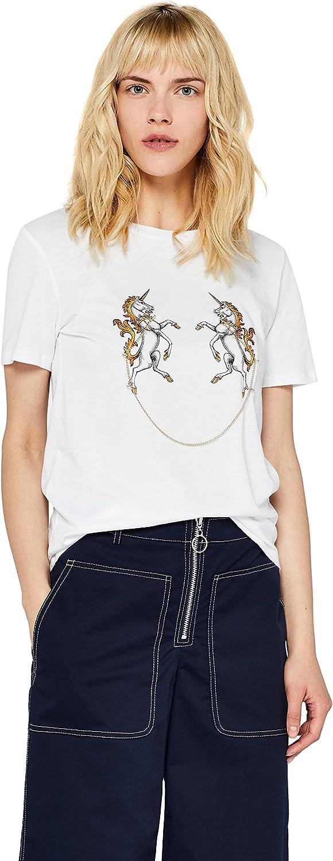Marca Amazon - find. Camiseta Divertida con Cuello Redondo Mujer