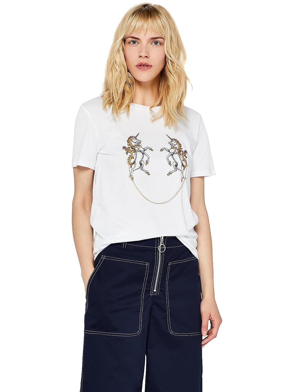 TALLA 46. Marca Amazon - find. Camiseta Divertida con Cuello Redondo Mujer