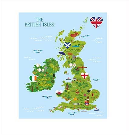 Map Of Ireland England.British Map Wall Sticker Decal Fun Kids Uk Map England Ireland