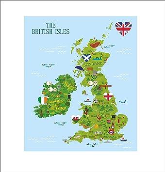 Map Of England Wales Scotland.British Map Wall Sticker Decal Fun Kids Uk Map England