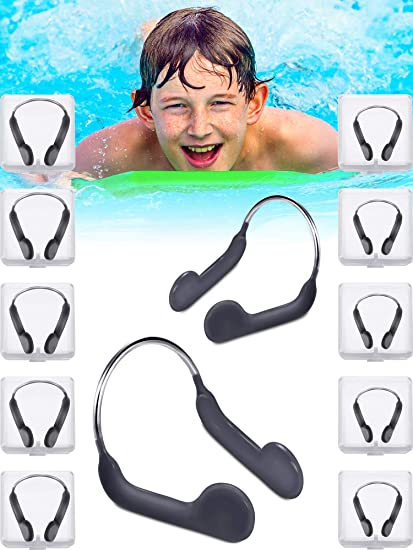 Pelopy Silicone Nose Plugs Swimming Nose Clips Training Nose Protector with Steel for Adults Kids Swimming Competition Using Adult Size and Kid Size
