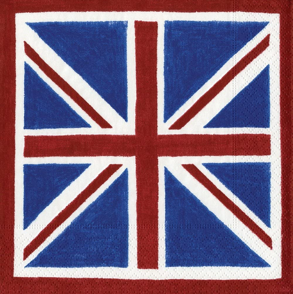 Caspari - Party Paper Napkin Set, British Flag, Box of 40
