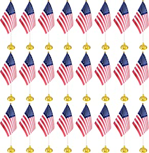 BCLin 24 Pack USA US Desk Flags,Small Mini American Deluxe Table Flags Set with Stand Base,8.2 x 5.5 inches Miniature Desktop Flag