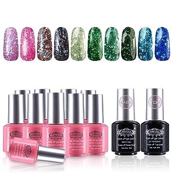 Amazon.com : Perfect Summer Gel Nail Polish 10 Glitter Colors Nail ...
