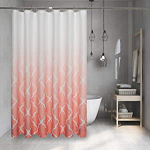 Coral Red Ombre Shower Curtain Geometric Trellis Morrocan Tile Print Decorative Water Resistant Fabric Liner for Bathroom Hotel Spa with Bottonholes, 1 Panel, 72x72 Inches, White to Red Gradient