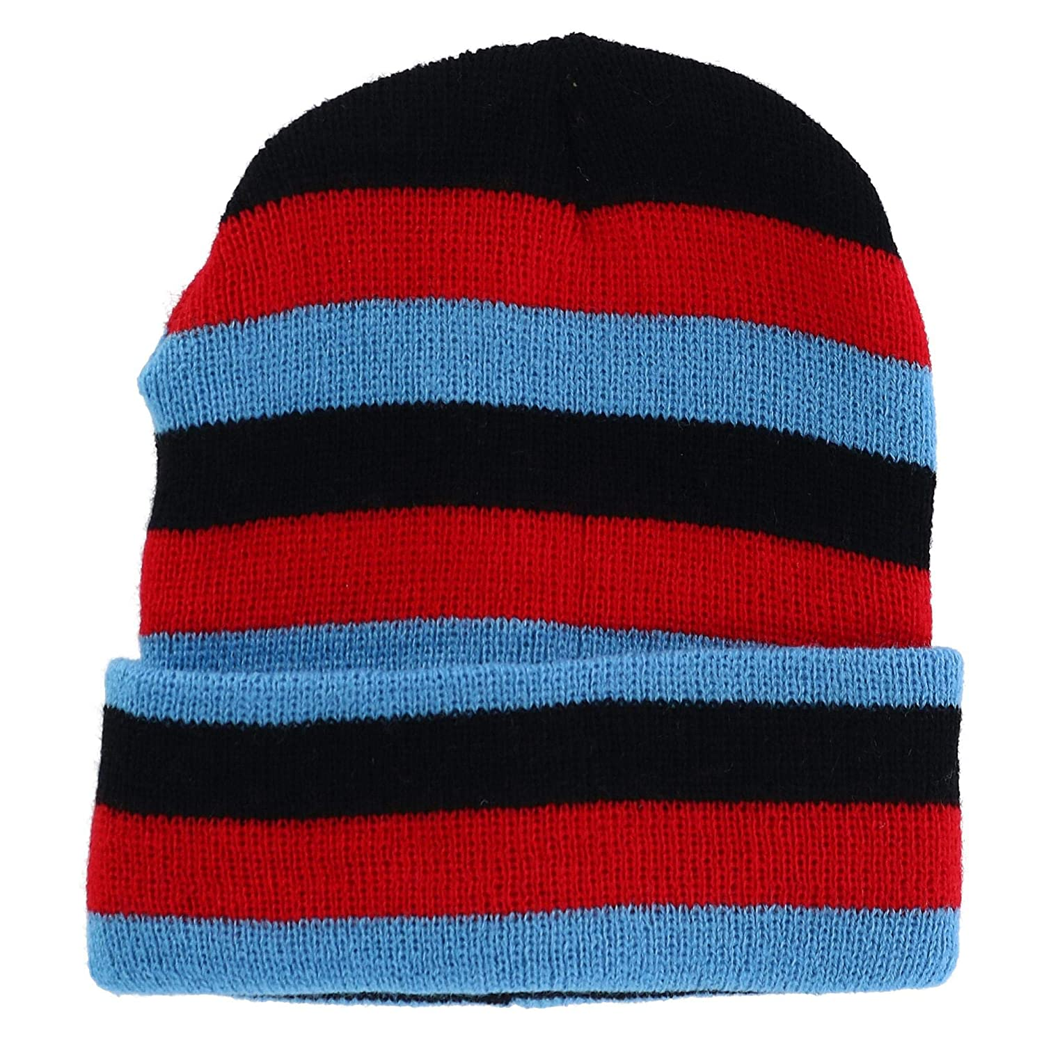 Grand Sierra Kids' Striped Cuff Beanie Cap Blue