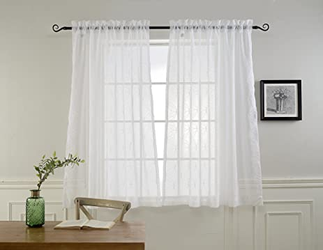 Sheer Curtains For Living Room By MYSKY HOME, Embroidered White Short  Sheers Curtain For Bedroom