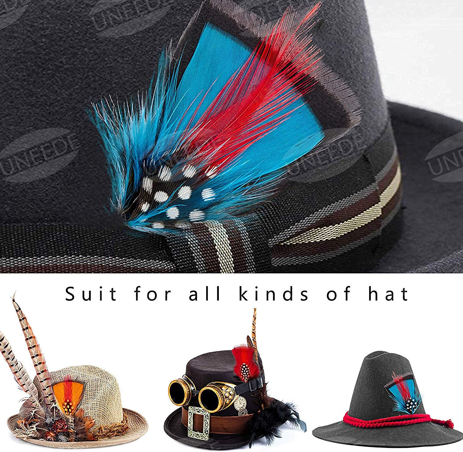 UNEEDE Hat Feathers Scott Borges 12 Pcs Assorted Feather Packs Accessories for Fedora Oktoberfest,Trilby Hat