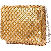 Women's Cross Body Square Shape Chain Sling And Clutch Bag (Golden)