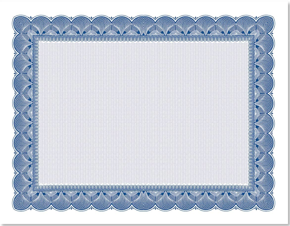 Traditional Blue Standard Parchment Certificates, 100 Count Blank, Blue Enhancements on White 28 lb. Parchment Paper, 8.5 x 11 Inches, Laser and Inkjet Compatible