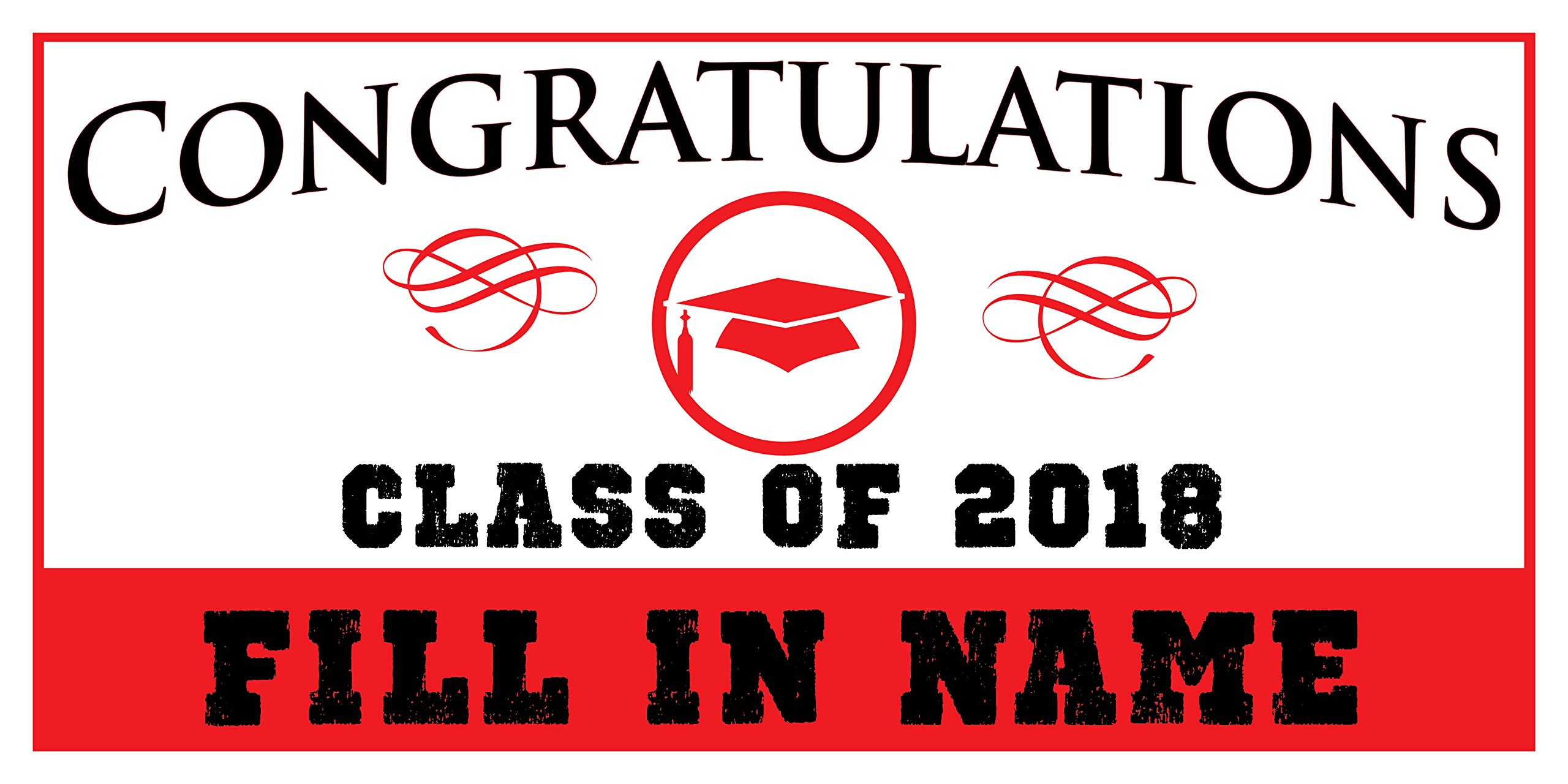 Custom Printed Graduation Banner Congratulations - Hat Red (10' x 5')