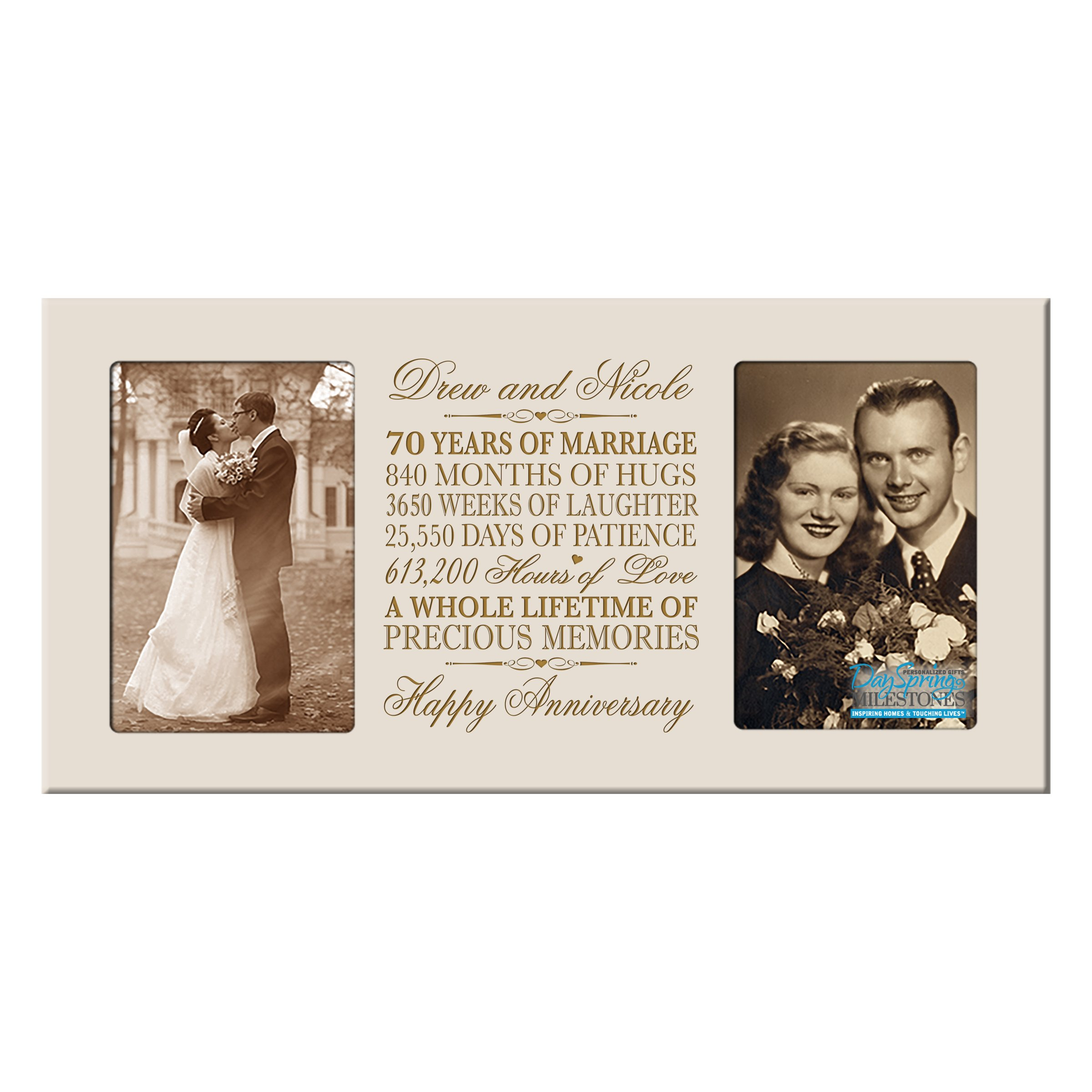 LifeSong Milestones Personalized 70 Year her him Couple Custom Engraved Wedding Celebration for Husband Wife Girlfriend Boyfriend Photo Frame Holds Two 4x6 Photos (Ivory)