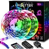 50ft LED Strip Lights, Daybetter LED Light Strip Music Sync Color Changing 5050 SMD RGB LED Lights Kit with 20 Keys…
